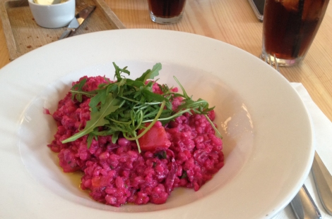 Beetroot and goat's cheese barley risotto, The Lucky Horseshoe, Hampstead