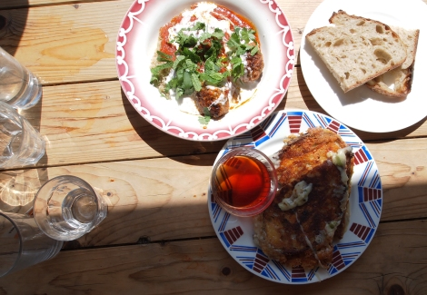 Cheese toastie and meatballs, Towpath, canalside cafe, Hackney
